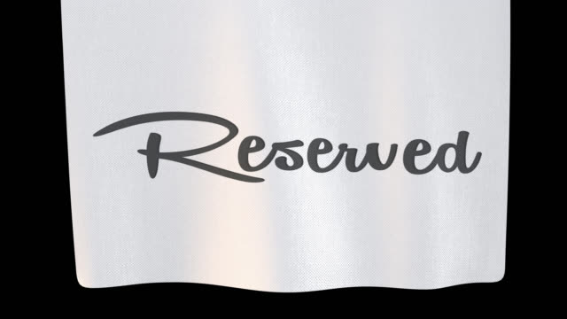 Reserved unfolding cloth sign. Alpha channel will be included when downloading the 4K Apple ProRes 4444 file only