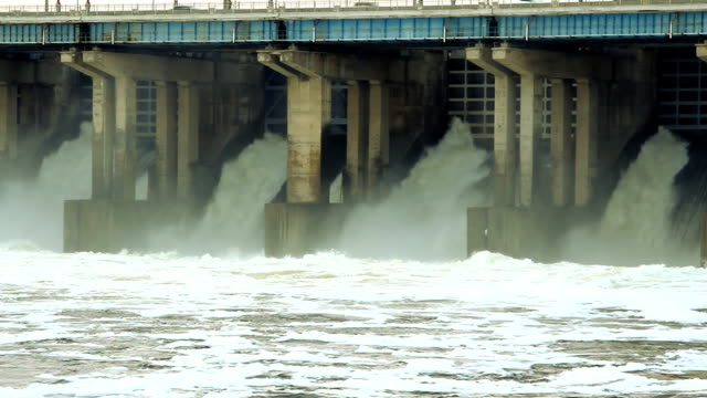 Reset of water at hydroelectric power station on the river video