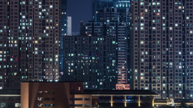 T/L MS ZI Residential Area at Night / Beijing, China Beijing Residential Area Cityscape at Night international architecture stock videos & royalty-free footage