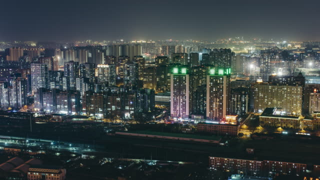 T/L WS HA PAN Residential Area at Night / Beijing, China video