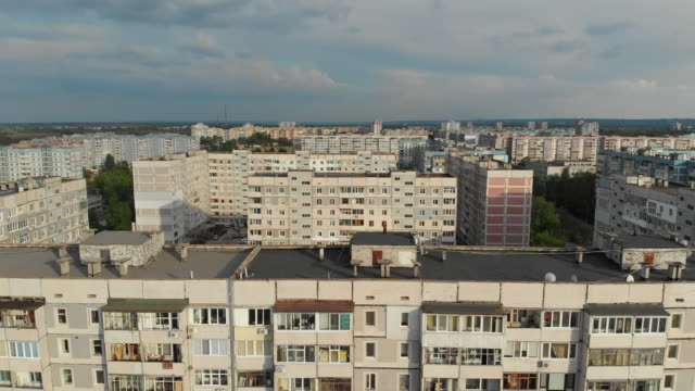 Residential Blocks of High Rise Apartment Buildings at a Sleeping Area of City, Aerial View