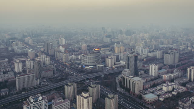 T/L WS HA PAN Residential Building and city Traffic in air pollution / Beijing, China video