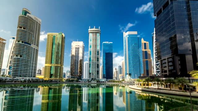 Residential buildings in Jumeirah Lake Towers timelapse hyperlapse in Dubai, UAE video