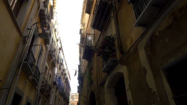 POV Residential buildings in narrow street of Palermo video