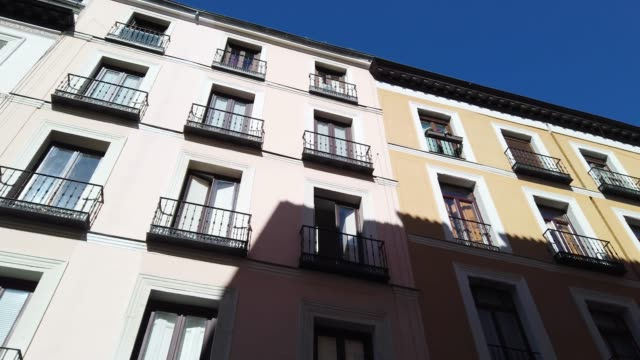 Residential buildings in the city center of Madrid, Spain 4K footage of residential buildings in the city center of Madrid, Spain vintage architecture stock videos & royalty-free footage