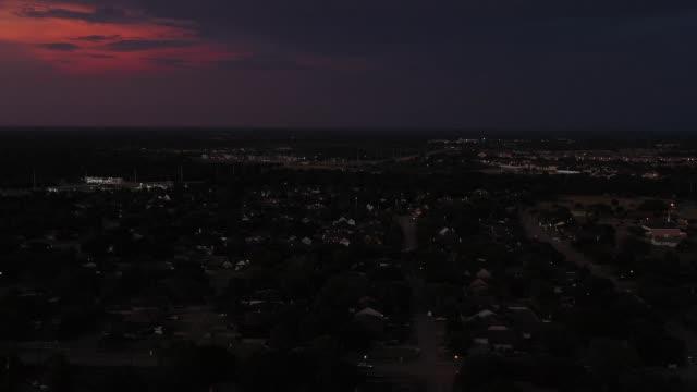 Residential neighborhood at dusk, Bryan, Texas, USA