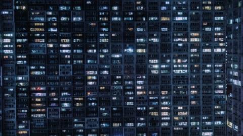 stockvideo's en b-roll-footage met t/l ws ha pan residentiële wijk/beijing, china - donker