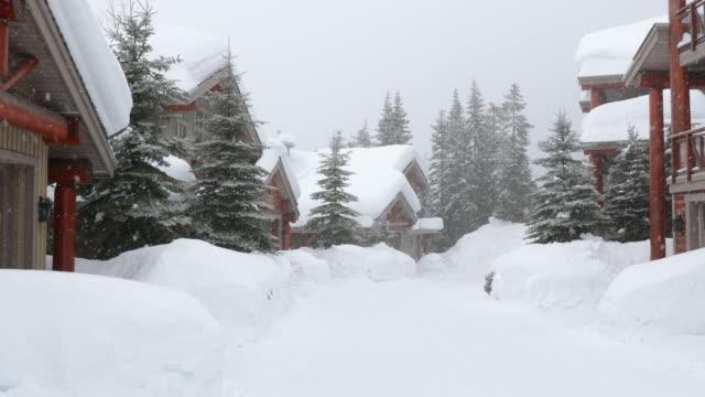 wohnstraße im winter schneesturm - blockhütte stock-videos und b-roll-filmmaterial