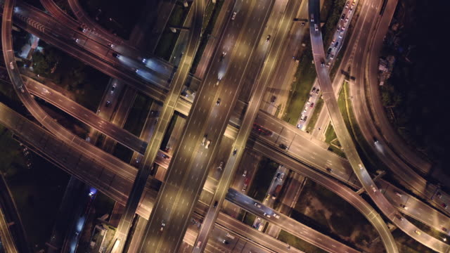 4K Resolution Aerial view road traffic intersection.transportation concept.Connection and networking technology.drone point of view