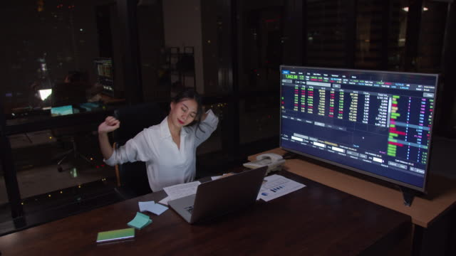 4K resolution Asian Businesswoman stretch form hard working,working late and at office in the dark,Work late and Work hard concept,overworked concept