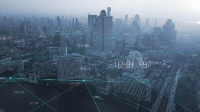 4K resolution Big data Connection.communication network.smart city.internet of thing.Bangkok city Thailand