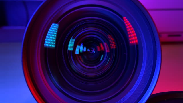 4K resolution Camera and lens Zoom, close-up to the Lens. Emergency light.