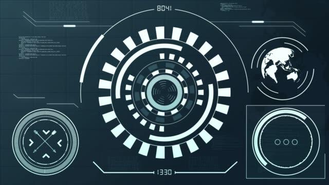 4k resolution - hud futuristic communication elements - континент географический объект стоковые видео и кадры b-roll