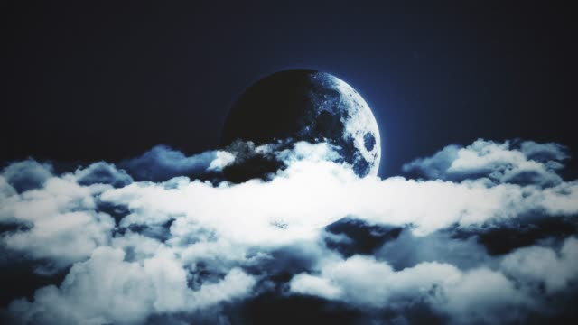 4K Resolution - Moon and Clouds