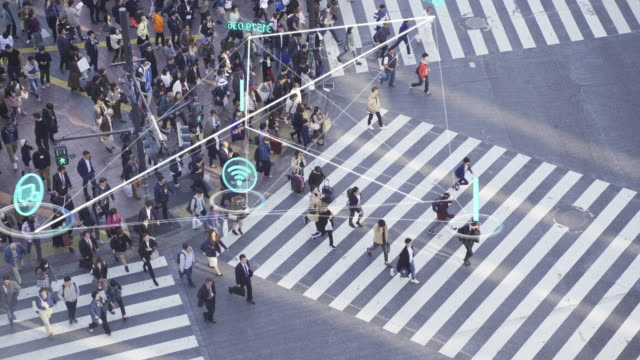 4K Resolution People and technology concept,crowded people walking and Global communication icon with network connections line,Technology-Futuristic concept