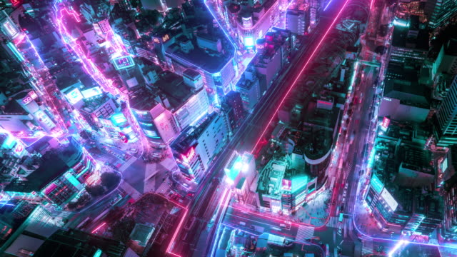 4k resolution time lapse of tokyo city aerial view with network connections line.internet of things and smart city concept,technology-futuristic concept - futurystyczny filmów i materiałów b-roll