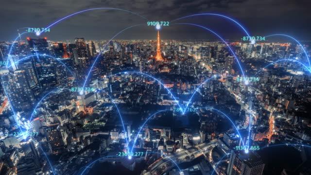 4k解像度 ネットワーク接続線を持つ東京市内スカイラインのタイムラプス。モノのインターネットとスマートシティのコンセプト,テクノロジー未来的概念 - ネットワーク点の映像素材/bロール