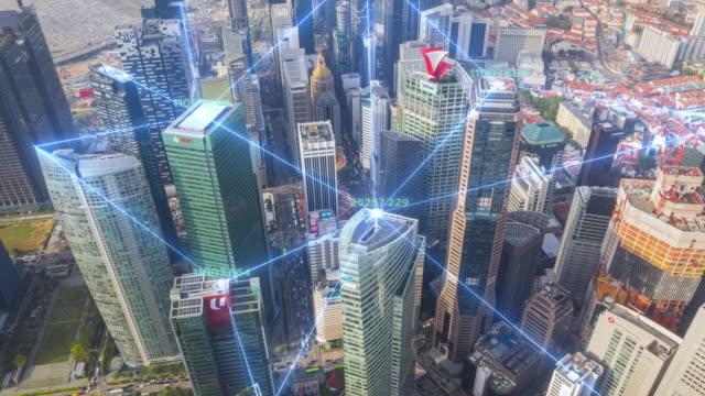 4k upplösning time lapse of tokyo city skyline med nätverksanslutningar linje. sakernas internet och smart stadskoncept, teknik-futuristiskkoncept - telecom bildbanksvideor och videomaterial från bakom kulisserna