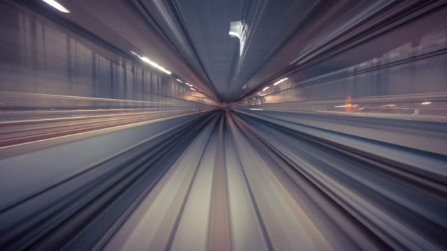 4k resolution time lapse of train moving in tunnel,transportation  technology - szybkość filmów i materiałów b-roll