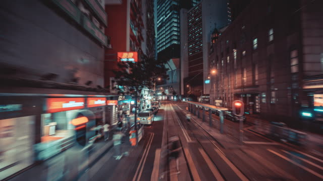 4k resolution time lapse on tram fast speed motion in hong kong city,hong kong business and transportation concept - центральный район стоковые видео и кадры b-roll