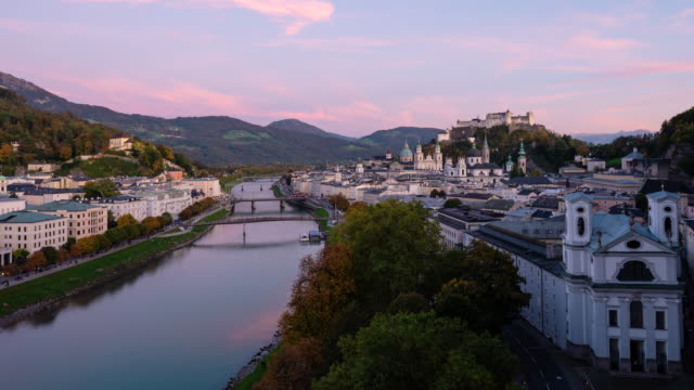 4K Resolution Time-Lapse from day to night, Salzburg is one of the most famous city for tourism in Austria, Europe. There are  Hohensalzburg, Salzach River and Salzburg Cathedral.