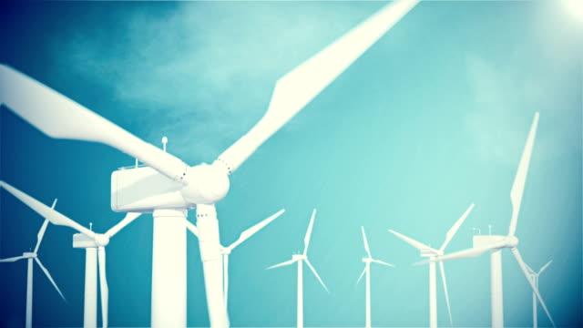 Resolución de 4K, turbina eólica, generador sobre fondo de cielo con nubes. animación en 3D. - vídeo