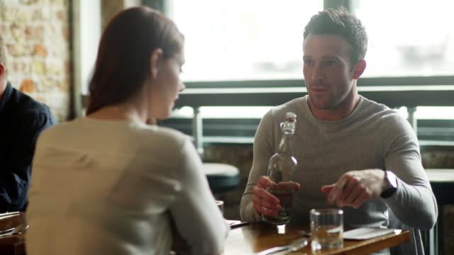 Restaurant chatting man video