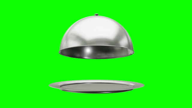 Restaurant cloche on plate open. Motion Animation. Restaurant cloche on plate open. Motion Animation. Video available in 4K FullHD and HD render footage on green screen chroma key silver metal stock videos & royalty-free footage