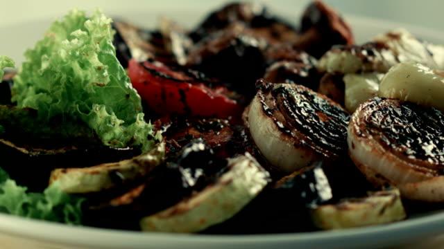Restaurant food. Grilled vegetables video