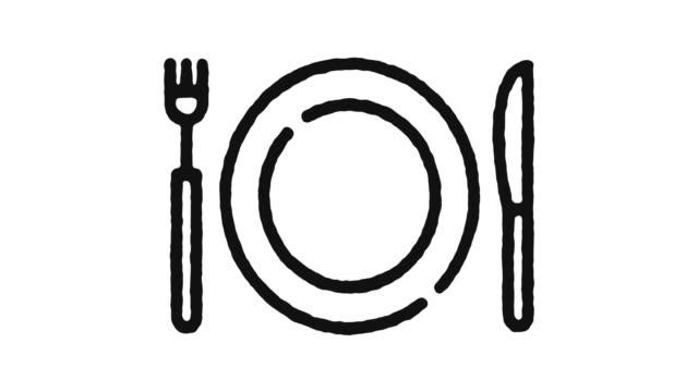 vídeos y material grabado en eventos de stock de imagen de animación de iconos de restaurante & alpha channel - cuchillo cubertería