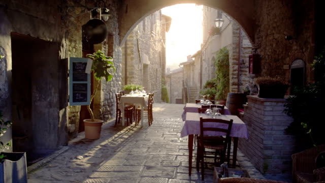 restaurant in old italian town - italian architecture stock videos & royalty-free footage