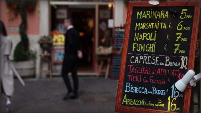 Restaurant menu in the streets of Rome