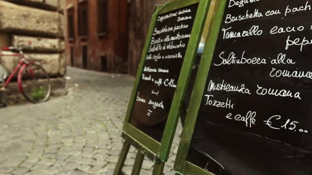 Restaurant Menu on the Street in Rome Video HD