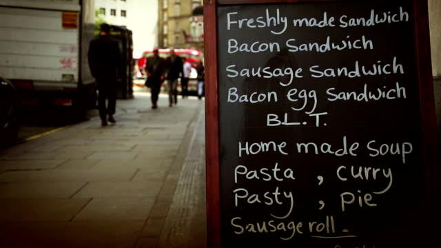 Restaurant menu sign in London Restaurant menu sign in London menu stock videos & royalty-free footage