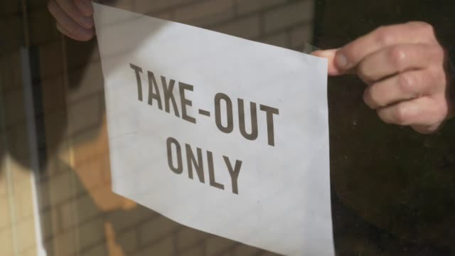 Restaurant Owner Puts Take Out Only Sign on Door
