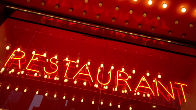 Restaurant Word with Led and Neon Lights