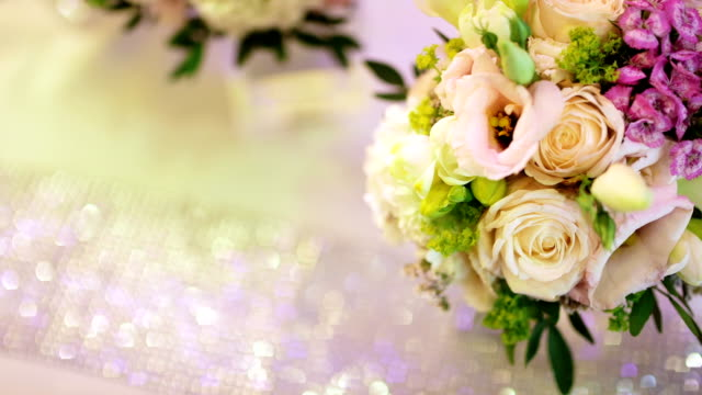 Resting White Rose Bouquet on wedding day. video