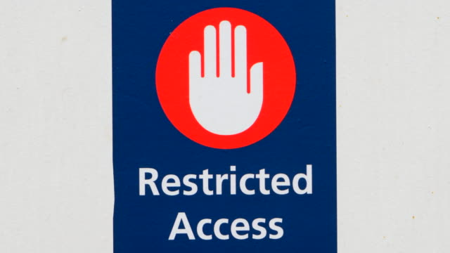 Restricted Access Sign Close Up Stop No Entry Hand Symbol video