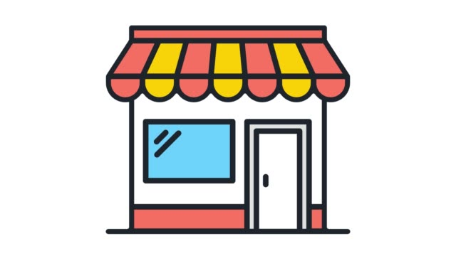 vídeos de stock e filmes b-roll de retail inventory flat line icon animation with alpha - shop icon