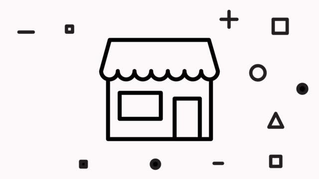 vídeos de stock e filmes b-roll de retail inventory line icon animation with alpha - shop icon