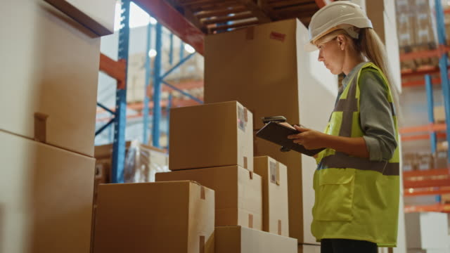 Retail Warehouse full of Shelves with Goods in Cardboard Boxes, Female Worker Scans and Sorts Packages for Delivery. Loaders Move Products with Pallet Trucks. Distribution Logistics Center. Low Angle