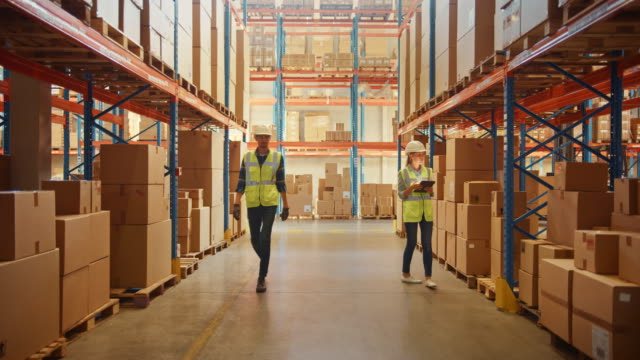 Retail Warehouse full of Shelves with Goods in Cardboard Boxes, Workers Scan and Sort Packages, Move Inventory with Pallet Trucks and Forklifts. Product Distribution Logistics Center. Static Shot