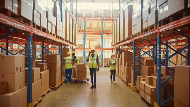 Retail Warehouse full of Shelves with Goods in Cardboard Boxes, Workers Scan and Sort Packages, Move Inventory with Pallet Trucks and Forklifts. Product Distribution Delivery Center. Static Shot