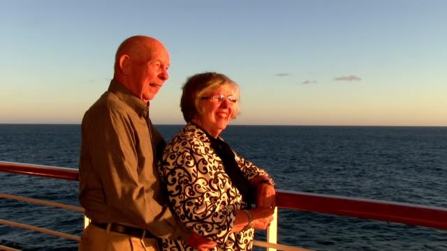 Retired couple on Alaska Cruise at sunset video