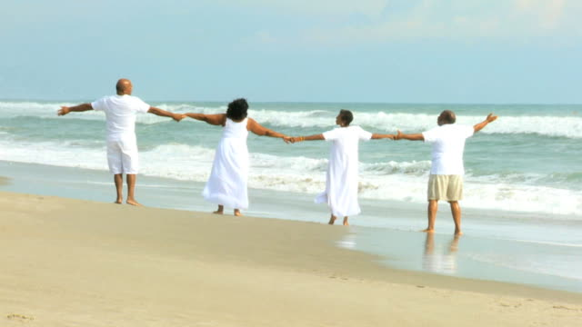 retired ethnic couples strolling beside ocean - family trees stock videos and b-roll footage