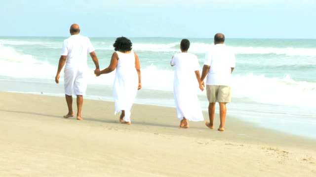Ehemaliger ethnischen paar spazieren am Meer – Video