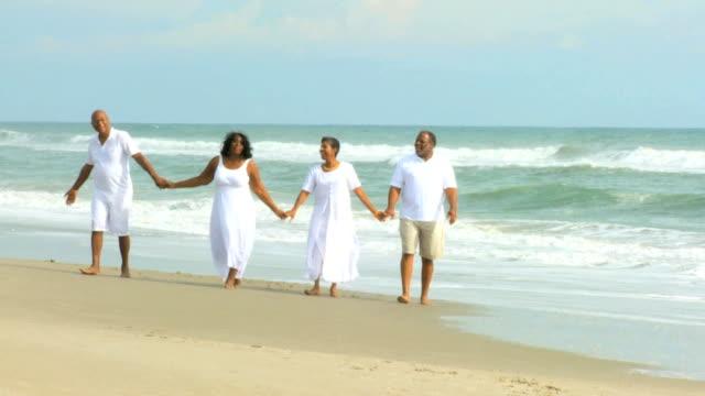 退職した民族のカップル歩行海のそば - 家系図点の映像素材/bロール