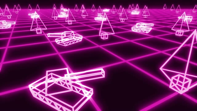 Retro 80s game tanks VHS tape video war battle vector arcade tron wireframe 4k video