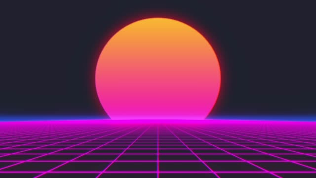 Retro 80s style grid sun stars old tv screen animation background