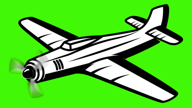 Retro airplane animation on green background Retro airplane animation on green background propeller stock videos & royalty-free footage
